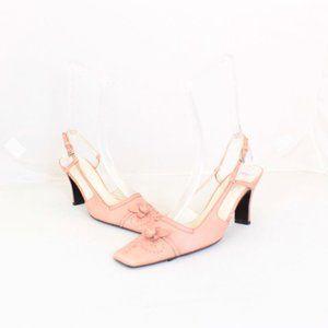 PRADA Pink Leather Slingback Heels #21714